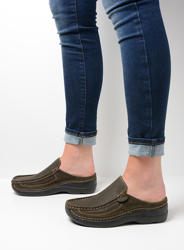 wolky comfort shoes 06202 roll slide 13770 cactus nubuck detail