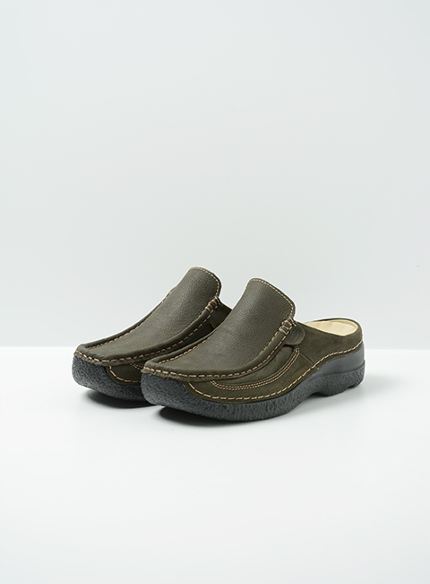wolky comfort shoes 06202 roll slide 13770 cactus nubuck front