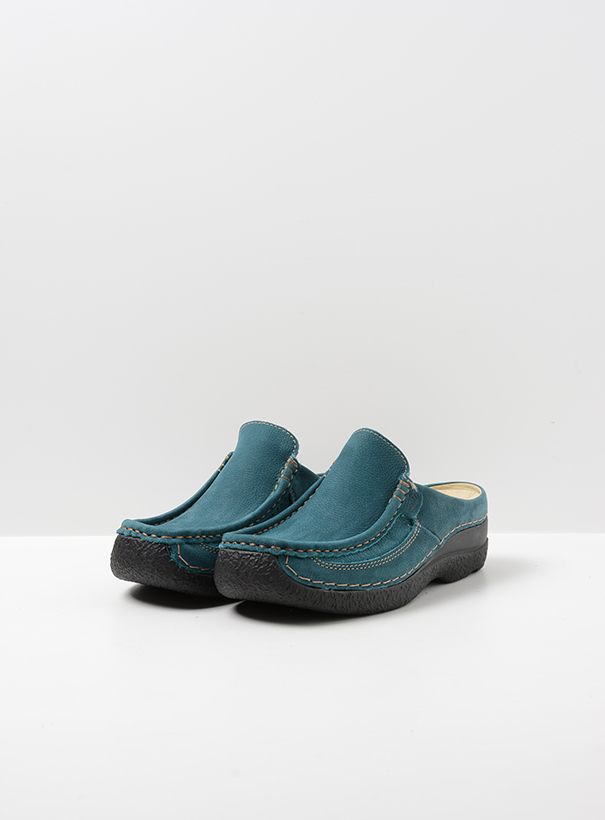 wolky comfort shoes 06202 roll slide 13880 petrol nubuck front
