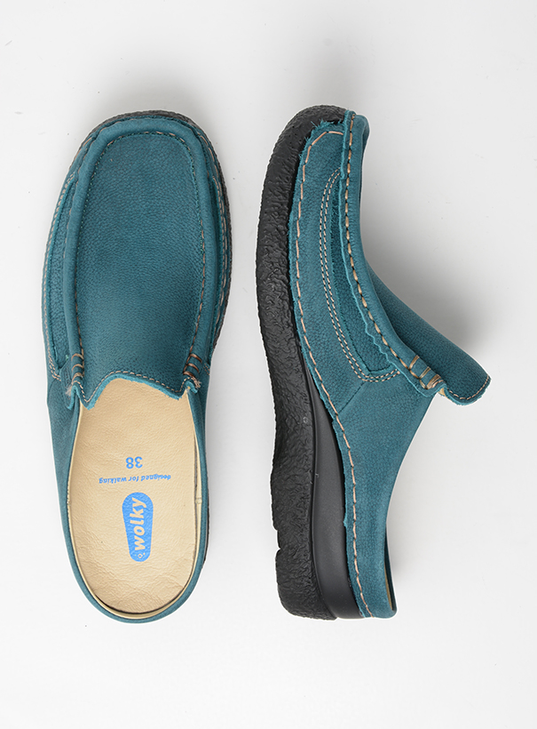 wolky comfort shoes 06202 roll slide 13880 petrol nubuck top